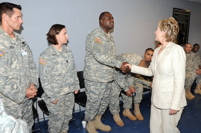 Senator Hillary Rodham Clinton (D-N.Y.) greets Soldiers from Fort Drum's Warrior Transition Unit Tuesday. While visiting, Clinton talked about issues dealing with troops wounded in battle and the struggles they face when returning home from combat.