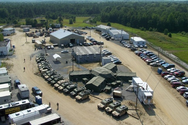 An aerial shot depicts the C4ISR On The Move Event 08 technology testing and demonstration this week at Fort Dix, N.J.