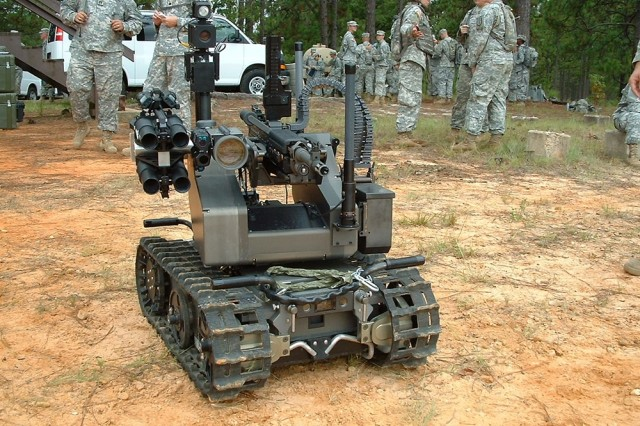 The MAARS is one of three robotic, unmanned vehicles demonstrated to Soldiers from the 519th Military Police Battalion, 1st Maneuver Enhancement Brigade, Aug. 5.  It is equipped with non-lethal and lethal armament.