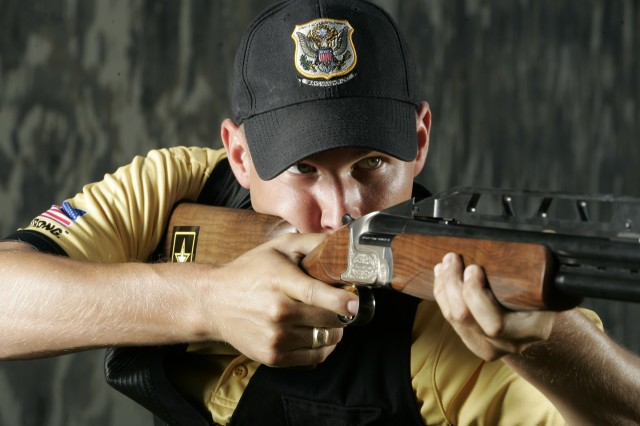 """Spc. Walton Aca,!A""""GlennAca,!A? Eller III (pictured here before the Olympics) earned a Gold Medal Tuesday in Beijing, while also setting a new Olympic record in Men's Double Trap."""