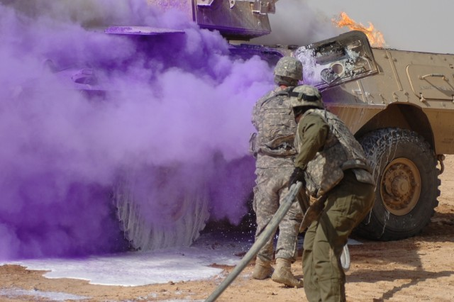 Soldiers train on fire suppression