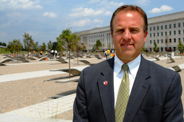 Jim Laychak, president of the Pentagon Memorial Fund, is also a brother of one of the 184 victims of the Sept. 11, 2001, terrorist attack on the Pentagon. The project broke ground June 2006 and is scheduled to open during a ceremony next month commemorating the seventh anniversary of the 9/11 attacks.