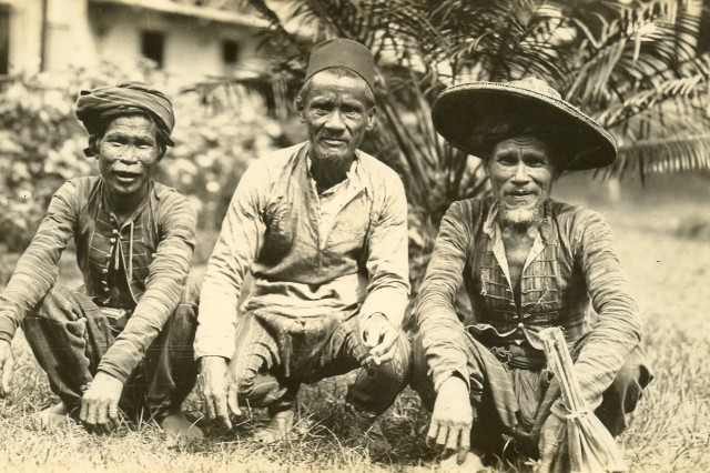 "Image shows ""Moro Chiefs"" on Jolo Island, Philippines.(Horace P Hobbs Coll)."