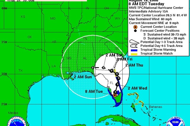 Tropical Storm Fay, as of 8 a.m., EDT, Aug. 19.
