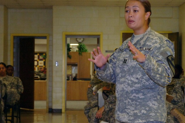 Puyallup, Wash. native, Capt. Olivia Nunn, commander of Headquarters and Headquarters Troop, 1st Brigade Combat Team, 1st Cavalry Division speaks to the female Soldiers attending the first Army Female Development Program about respect and professionalism on Fort Hood, Texas.