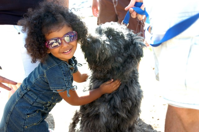 """One way to stay cool amidst the Texas heat is to look cool. Yazzabel Ramirez, 2, gives dog, Sasha-Mishka ('bear cub' in Russian), a hug during an organizational day put on by 1st """"Attack"""" Battalion, 227th Aviation Regiment, 1st Air Cavalry Brigade, 1st Cavalry Division, at Belton Lake Outdoor Recreational Area at Fort Hood, Aug. 14. While Yazzabel's dad is PV2 Victor Ramirez (not pictured), a fueler for Company E, 1-227th, 1st ACB, Sasha-Mishka belongs to Sgt. Gary Miller (not pictured), a retention noncommissioned officer for First Attack."""