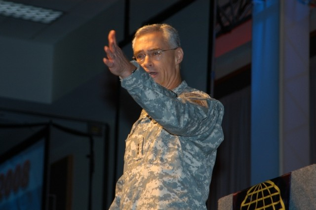Lt. Gen. Jeffrey A. Sorenson, Army Chief Information Officer/G-6, welcomes attendees to the opening of the 2008 LandWarNet Conference Aug. 19, at the Broward County Convention Center in Fort Lauderdale, Fla.