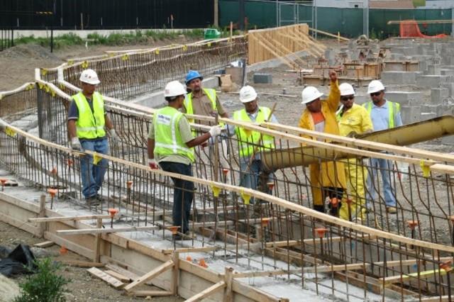 Concrete pour at the western Perimeter Bench.