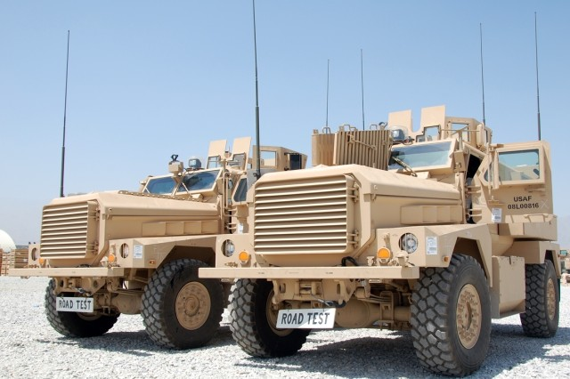 Cougar Mine Resistant Ambush Protected Vehicles await final road testing at the 3rd Battalion, 401st Army Field Support Brigade, Army Preposition Stock area at Bagram Airfield, Afghanistan, Aug 18, 2008.
