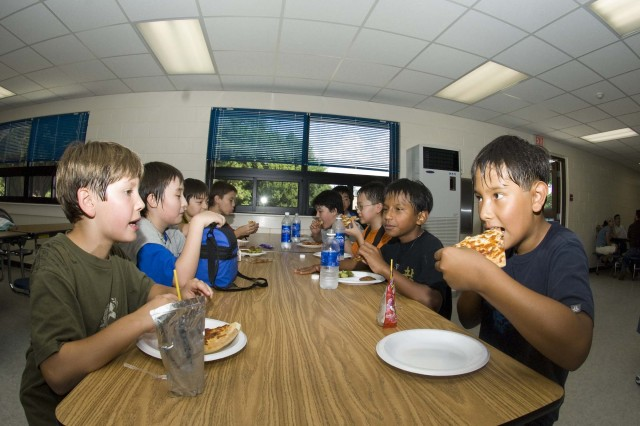 Seoul American Middle School students at Yongsan eat lunch in the new addition to the school cafeteria. A summer-long expansion project added 150 seats, alleviating overcrowding and improving lunchtime scheduling.