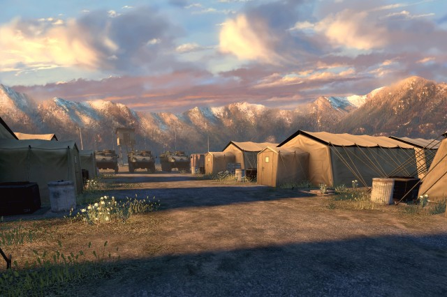 """America's Army"" public applications concept artists create the game's initial visual statement. The artists' images, such as the encampment seen here, are often developed before elements such as characters and terrain."