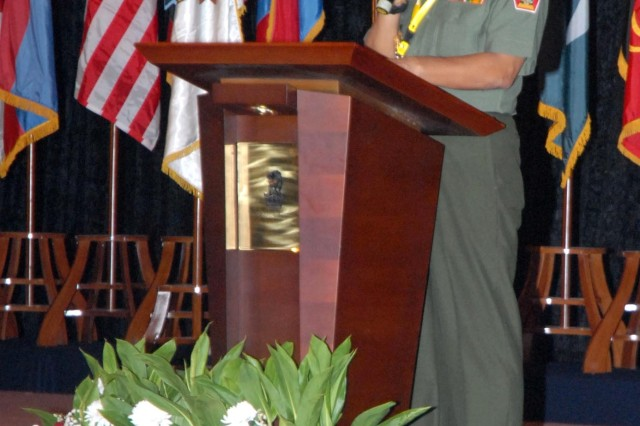 """JAKARTA- Senior Army and security officials from 30 nations gathered here for the  Pacific Armies Management Seminar (PAMS) XXXII. PAMS is the U.S. Army's largest  Asia-Pacific theater security cooperation program event. It is a multinational  military seminar that provides a forum for senior-level officers from the Asia  Pacific's regional ground forces in U.S. Army, Pacific's area of responsibility to exchange views and ideas. This year's main theme is """"Critical Land/Security Forces' Challenges.""""  Widagdo-Indonesian Brig. Gen. Thomas E. Widagdo gives a briefing on """"Gaining and  maintaining situational understanding in the contemporary operating environment""""  during Pacific Armies Management Seminar XXXII in Jakarta Aug. 26. Photo by U.S.  Army Sgt. 1st Class Jason Shepherd, United States Army Pacific."""