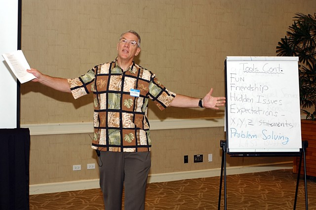 LAIE, Hawaii - Chaplain (Col.) Mark Larson, the 9th Regional Readiness Command Chaplain, emphasizes some of the lessons learned with the 20 couples attending the Oahu Strong Bonds Marriage Skills Workshop, Aug. 15-17.