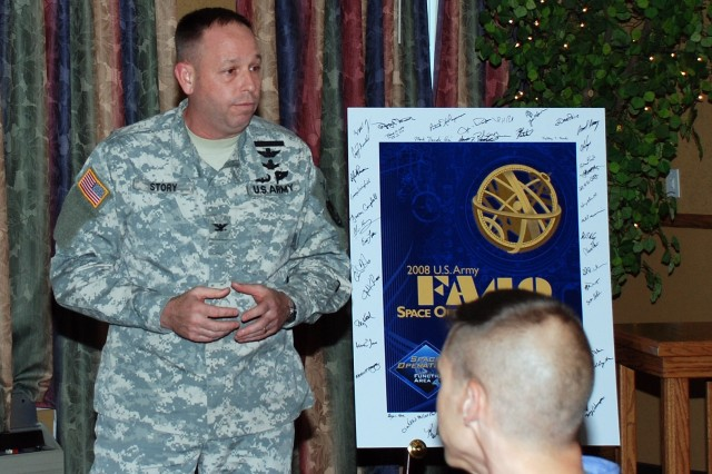 Deputy Commander for Operations, U.S. Army Space and Missile Defense Command/Army Forces Strategic Command, Col. Kurt S. Story, welcomes a crowd of 100 to the 2008 U.S. Army FA40 Space Operations Symposium in Colorado Springs on the evening of Sept. 2, at the Radisson Hotel.