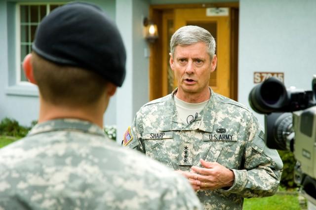 USFK Commander Gen. Walter Sharp gives AFN Korea an interview after his first official visit to Yongsan Garrison Sept. 5.