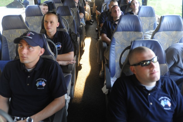 Soldiers of the 3rd U.S. Infantry Regiment's Alpha Company, settle in Sept 8 for the bus ride from Fort McNair in Washington, D.C., to Rochester, N.Y., where they will tell the Army story through the Spirit of America show Sept 12 and 13.