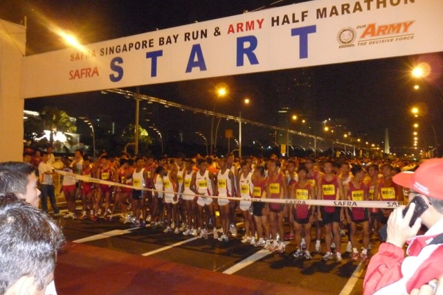 The starting line of the 17th Annual Singapore Army Half Marathon. Two Soldiers from the 500th Military Intelligence Brigade represented the United States in the event. This was the first time the U.S. has participated in the 13.1 mile race.