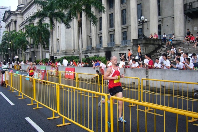 Capt. Shawn Dodge, of the 500th Military Intelligence Brigade finishes the 17th Annual Singapore Army Half Marathon, August 24. He was one of three Soldiers representing the United States at the race and finished 1:21 minutes.