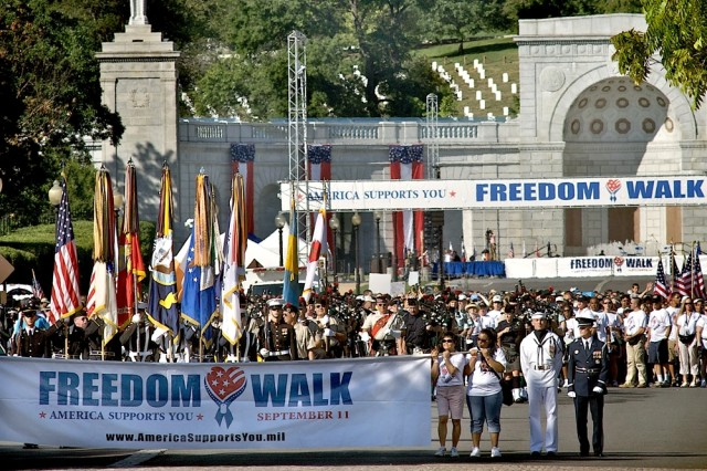 Thousands of walkers join in the fourth annual National America Support You Freedom Walk from the Women's Memorial at Arlington National Cemetery to the Pentagon in Washington, D.C., Sept. 7, 2008. The America Supports You Freedom Walk calls on people to reflect on the lives lost on Sept. 11, 2001, honor our veterans, past and present, and renew our commitment to freedom and the values of our country.