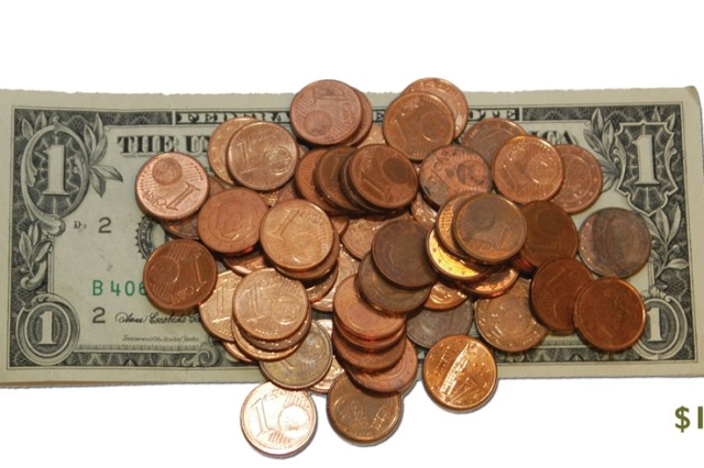 During the second quarter of 2008, one dollar equaled 64 euro cents, according to figures from the U.S. Department of Treasury.