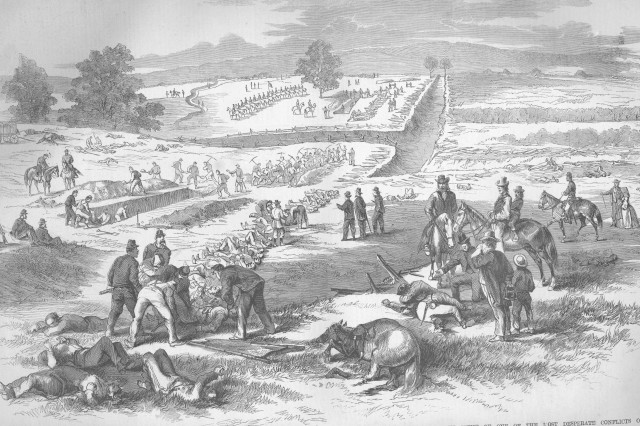 Burial of the dead on the Antietam battlefield. (Frank LeslieAca,!a,,cs Illustrated Newspaper, October 18, 1862).
