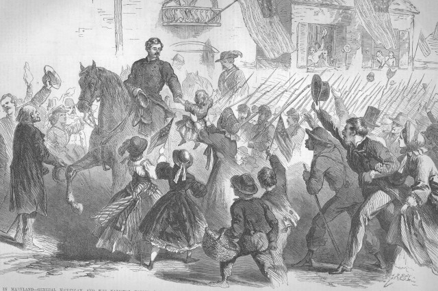 General McClellan riding through Frederick, Maryland, September 12, 1862, just before the Battle of Antietam.(Frank LeslieAca,!a,,cs Illustrated Newspaper, October 4, 1862).