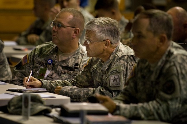 Chief of Staff of the Army Gen. George W. Casey, Jr., takes notes as he observes a chemical, biological, radiological, nuclear and high-yield explosive incidents (CBRNE) Consequence Management Response Force CCMRF exercise at Ft. Stewart, Ga., Sept. 14, 2008.   CCMRF is designed to educate key leaders and staff on the response environment and to train them to work together as a joint team.