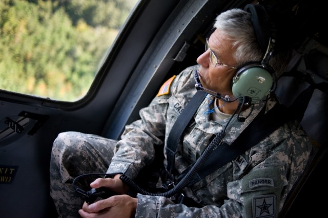 Chief of Staff of the Army Gen. George W. Casey, Jr., flies on a UH-60 Blackhawk helicopter over Ft. Stewart, Ga., Sept. 14, 2008.