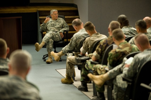Chief of Staff of the Army Gen. George W. Casey, Jr., answers questions and asks for feedback from senior leaders at a chemical, biological, radiological, nuclear and high-yield explosive incidents (CBRNE) Consequence Management Response Force CCMRF exercise at Ft. Stewart, Ga., Sept. 14, 2008.  CCMRF is designed to educate key leaders and staff on the response environment and to train them to work together as a joint team.