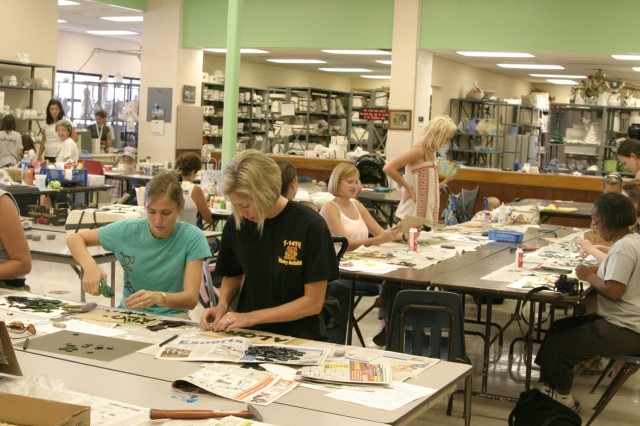 SCHOFIELD BARRACKS, Hawaii - The Schofield Barracks Arts & Crafts Center was buzzing with creative endeavors, Aug. 23, as Blue Star Card holders enjoyed a free day of mosaic tile making.