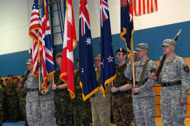 An ABCA Program color guard participates in the opening ceremony of Cooperative Spirit 2008 Friday at the Joint Multinational Readiness Center in Hohenfels, Germany, to kick off a month of training for American, British, Canadian, Australian and New Zealand troops.