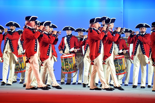 The Old Guard Fife and Drum Corps uses a four-count troop step during an entertainment to honor His Excellency General George Washington during Spirit of America.