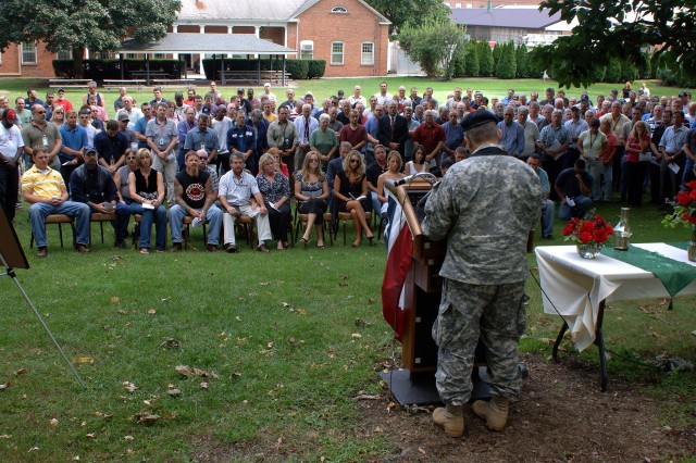 Chaplain (Lt. Col.) Dean Bonura, TACOM LCMC, talks to hundreds at the Watervliet Arsenal who came to honor Adam M. Nieckarz's service to his country.  Nieckarz died Aug. 16 from injuries sustained in a motorcycle accident.