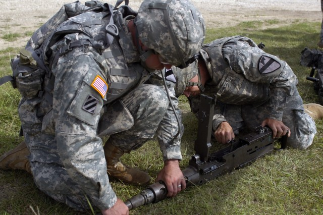 Masonville N.Y. native, Sgt. John Northup (left), a team leader and Spc. Thomas Crancross, a gunner from of Buffalo N.Y., perform a functions check on their 'Ma Deuce,' 50 caliber machine gun, before mounting it atop their humvee for D Troops light gunnery training Sept. 11 at Fort Hood, Texas.
