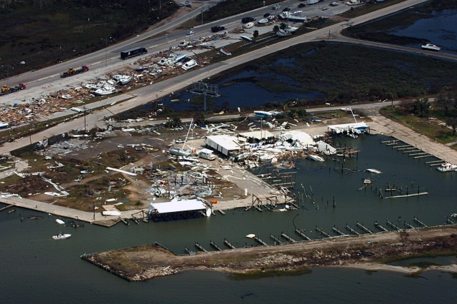 This scene is just one of many seen while flying over Galveston, Texas and the surrounding areas affected by Hurricane Ike. This particular flight, flown by 2nd Battalion, 227th Aviation Regiment, 1st Air Cavalry Brigade, 1st Cavalry Division, was in support of Gen. Victor Renuart Jr., the commanding general of U.S. Northern Command and his staff's damage assessment of the areas of Texas most affected by the hurricane.