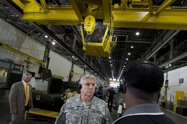 Army Chief of Staff Gen. George Casey observes the reset process for tracked and wheeled vehicles at Anniston Army Depot, Ala., Sept. 18.