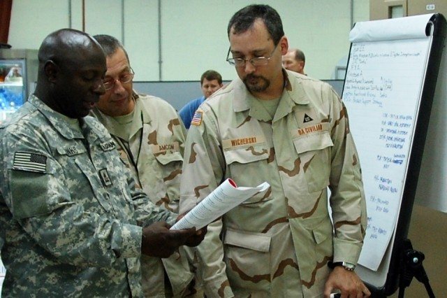 Intermediate Systems Acquisition course students (L-R) Alan Banks, Lewis Courtney and Terrence Wicherski go over a group assignment during a class session at the 401st Army Field Support Brigade training room, Sept. 15, 2008, at Camp Arifjan, Kuwait.
