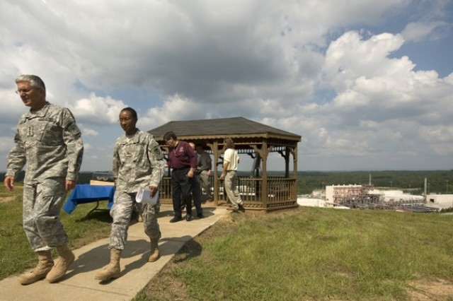 Chief of Staff of the Army, Gen. George W. Casey Jr. leaves an observatory point after being briefed about the Anniston Chemical Agent Disposal facility in Anniston, Ala., on Sept. 18, 2008. The facility has safely disposed 327,891 since August of 2003.