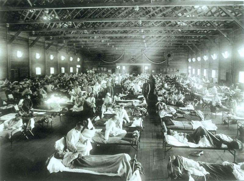 U.S. Army photo of hospital handling Spanish Flu victims