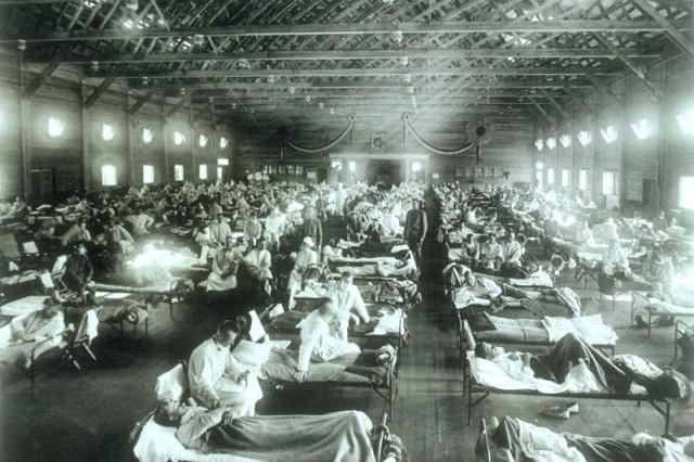 Emergency hospital during historic 1918 influenza epidemic, Camp Funston, Kan.