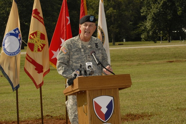 Maj. Gen. James R. Myles, Aviation and Missile Life Cycle Management Command commander, spoke during the AMC/USASAC groundbreaking ceremony Sept. 17.