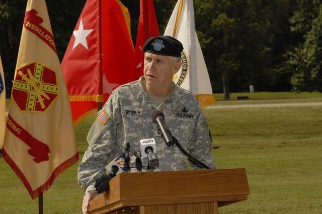 Gen. Benjamin S. Griffin, AMC commander, spoke during the AMC/USASAC groundbreaking ceremony Sept. 17.