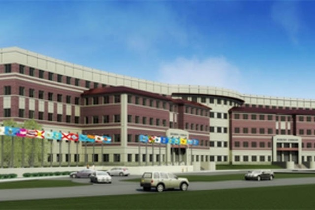 This is the proposed west entrance view of the new U.S. Army Forces Command and U.S. Army Reserve Command  headquarters building planned for construction at  Fort Bragg, N.C.