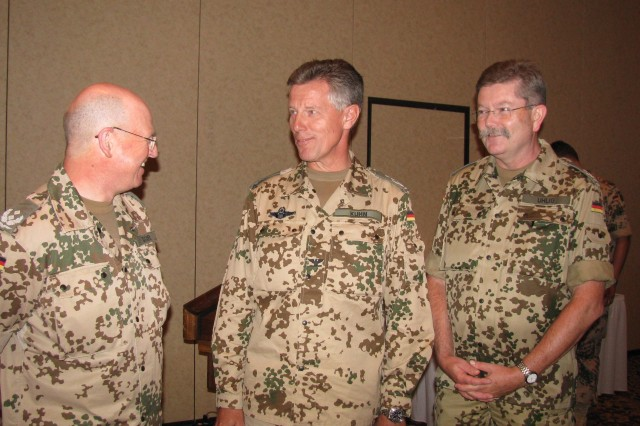 From left are Lt. Col. Thomas Doerr, outgoing director of the German Patriot Office; Col. Michael Kuhn, commander of the German Air Force Command at Fort Bliss, Texas; and incoming director Lt. Col. Christian Uhlig.