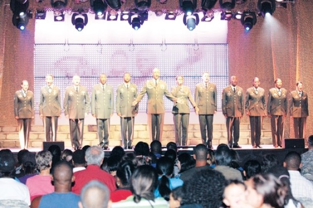 During the Soldier Show, Soldiers danced and sang songs ranging from country, R&B, gospel and rock oldies, to soul and patriotic songs.