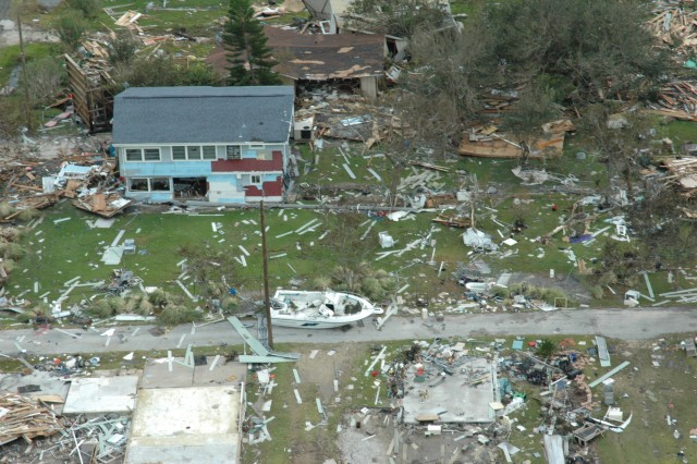 Hurricane Ike left devastating scenes in communities throughout the Gulf Coast of Texas, like _______ pictured above. The U.S. Army Corps of Engineers stood up Task Force Pacesetter for its many response and recovery operations throughout the impacted region.