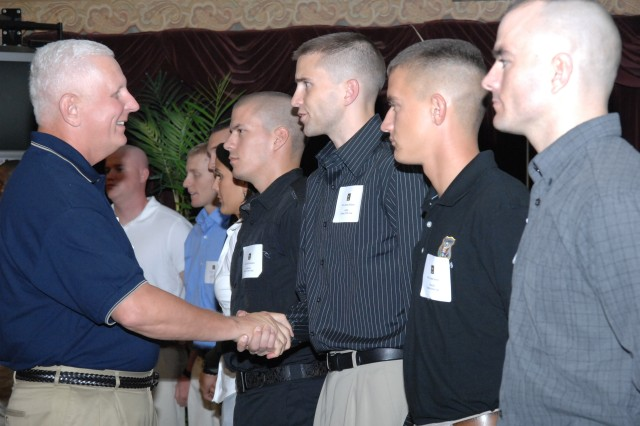 Maj. Gen. James E. Chambers, Combined Arms Support Command and Fort Lee commanding general, welcomes each competitor to the 2008 Department of the Army NCO/Soldier of the Year Competition during a Welcome Social Sept. 28 at Fort Lee, Va.