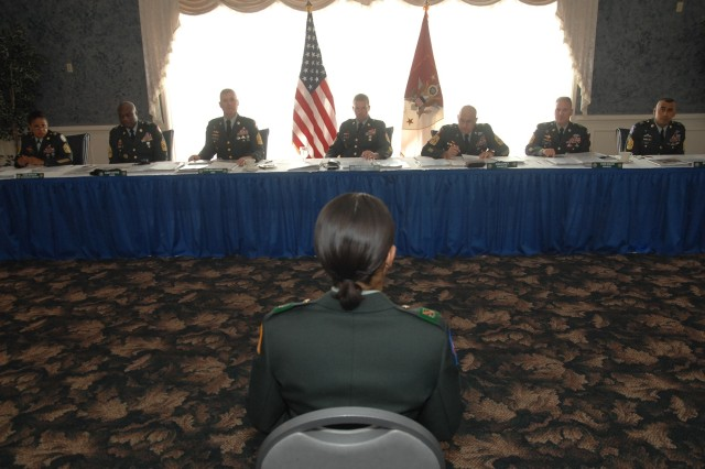 "Sgt. Lisa Morales, U.S. Army Forces Command NCO of the year, answers questions during her board appearance at the 2008 Department of the Army ""Best Warrior"" Noncommissioned Officer and Soldier of the Year Competition held Sept. 29 – Oct. 3 at Fort Lee, Va. <br> <br> <a href=""http://www.army.mil/bestwarrior/2008/"" target=""_blank"">Army 2008 Best Warrior Competition</a>"
