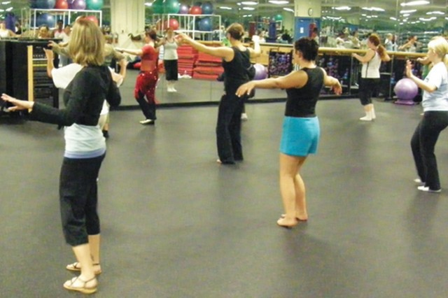 Students work on their form at the Morale, Welfare and Recreation belly dance class at Wheelock Bayou Fitness Center. The class is free and meets at 7 p.m. Mondays.