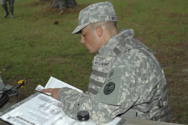 Staff Sgt. Michael Noyce Merino, U.S. Army National Guard competitor, uses some free time during the 2008 Department of the Army NCO/Soldier of the Year Competition Sept. 28 - Oct. 3, to study for the next day's written exam.
